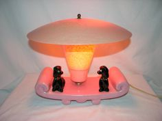 Mid-Century Modern •~• pink and black poodle lamp