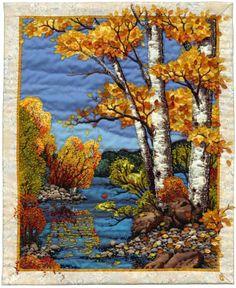 landscap quilt, fall art, autumn tree, bead, art quilt