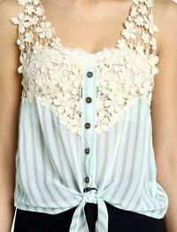 Blue Striped Lace Top