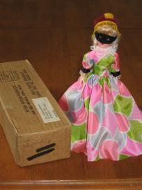 Blue Bonnet Masquerade Vintage Plastic Doll