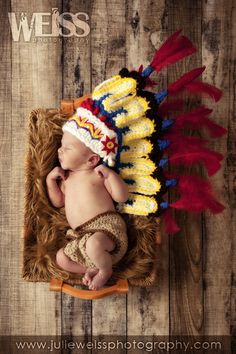 Thanksgiving Indian hat/Cherokee/, perfect newborn photo prop. via Etsy