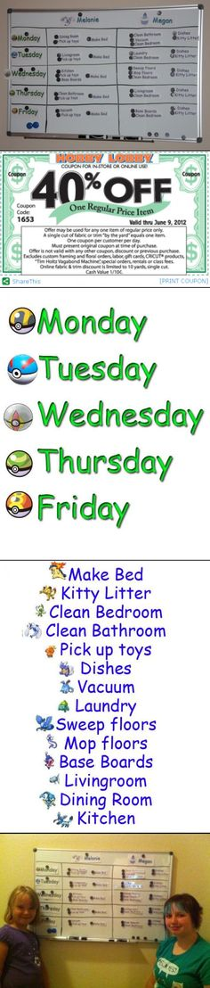 Kids Chore Chart with Printable chores!  This was one of the best things I've done!!!