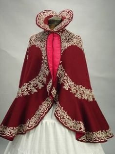 Cranberry Wool and Ivory Soutache Cape with Fushia Silk lining. Ca 1900