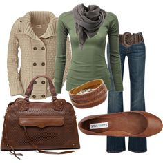 Fall Outfit with a jean skirt.. Cute!