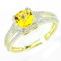 This sparkling citrine diamond gemstone ring has a 0.77ct checkerboard cut citrine main stone in a prong setting. There are round cut diamonds in prong settings with a total weight of 0.25cts. The color and clarity are H/I and I1/I2 respectively. $343.00