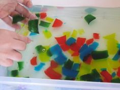 Frozen Colored Gelatin Squares (no sugar, no not sticky)
