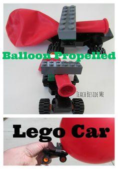 """Balloon Propelled Lego Car - """"If I Built a Car"""" Book activities (via Teach Beside Me) Lego Car"""