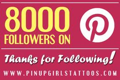 Thank you to all of the pin up girl fans out there! We've just reached 8000 followers :) #happy