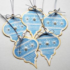 Tags- image only. Inspiration for paper ornaments or garlands.