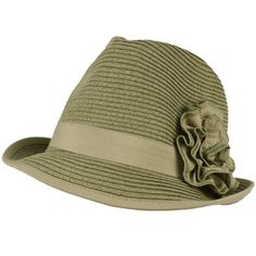 Ladies Ruffle Flower Beach Summer Fedora Trilby Crusher Packable Hat Gray
