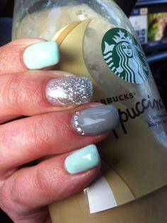 grey gel nails, gel nails mint, grad nails