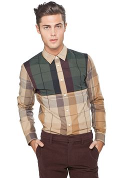 Mens fashion / mens style / Marc Jacobs Grand Plaid Shirt in New Beige Multi