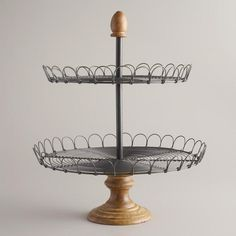wood & metal 2 tiered cake stand