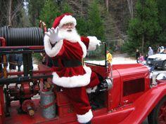 Santa Claus on a firetruck