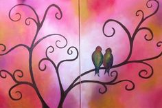 Cute birds in a tree canvas paint idea for wall decor. Love birds. Valentine's. Canvas painting. Double canvas wall art.