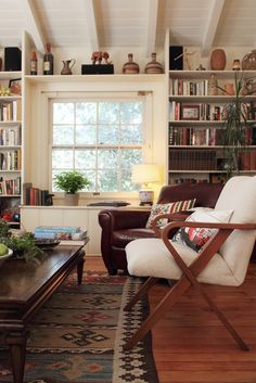living room built-ins, English-style cottage