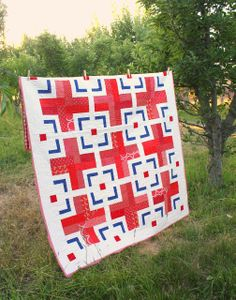 Diary of a Quilter - a quilt blog: Modern Red Cross Quilt