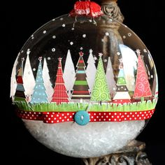 Christmas Ornament - I LOVE this!  I think you could even do this as a classroom craft with pre-cut trees and the kiddos could put them wherever/however they wanted.  CUTE! craft, glasses, seasons, trees, papers, christma ornament, christmas ornaments, glass ornaments, christmas tree ornaments