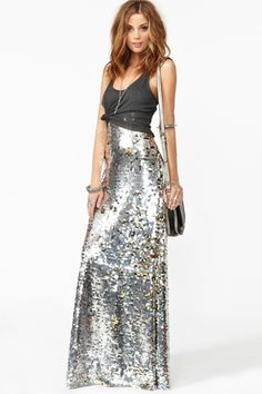 "Nasty Girl ""Gina"" Sequin Maxi Skirt in Silver"