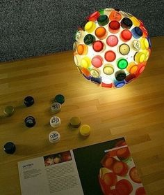 #DIY lamp decorated with colorful plastic bottle tops