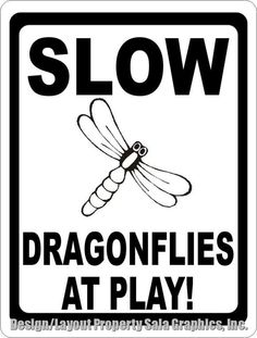 Slow Dragonflies at Play Sign .