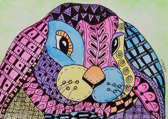 ACEO LE Print Zentangle Doodle Bunny Rabbit Animal Pet Painting LaRusc | eBay