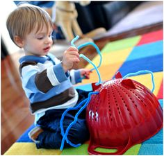 colander and pipe cleaners...cute activity for Caleb & Keegan.