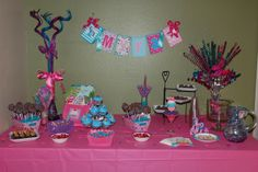 My Little Pony dessert table spread. The banners are from Ashleylz96 on Etsy.