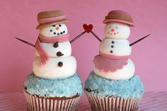 mr. snowman and mrs. snowman cupcakes!  #winter #holiday #theme #cupcake #cupcakes #party #desserts #treats #sweets #creative