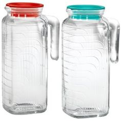 Bormioli Rocco Gelo 2-Piece Glass Pitcher Set with Lids, Red and Green [each holds 41-ounces] $17.99