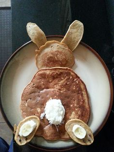 Bunny pancakes for Easter. Love.