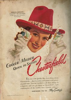 Vintage advertisement for Chesterfield cigarettes