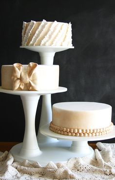 Trio of Peach Colored Wedding Cakes Picture