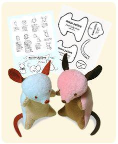 Sewing Stars-Mouse Pattern free stuffed toys, sew stuffi, craft, mous pattern, softi, sew plushi, plushi diy, cat toys, sewing patterns