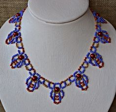 Turkish Treasure Beaded Necklace Pattern by Cecilia Rooke at Bead-Patterns.com