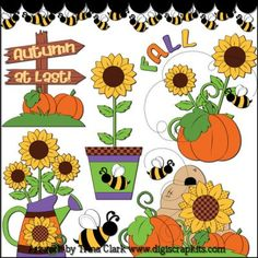 Festive Fall 1 Clip Art - Original Artwork by Trina Clark