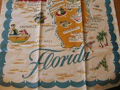 Vintage Reproduction Florida Souvenir Dish Towel