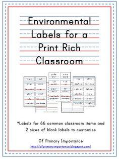 Environmental Print Classroom Labels - Of Primary Importance - TeachersPayTeachers.com