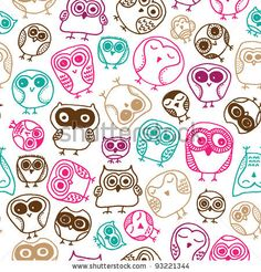 stock vector : Seamless colorful owl doodle background pattern for kids in vector