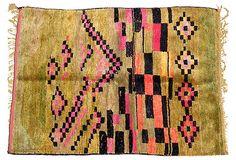 WUNDERLEY - Moroccan Rug, Lime/Pink