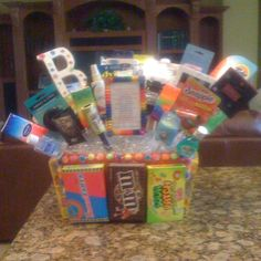 Bathroom basket for candy themed Bat Mitzvah