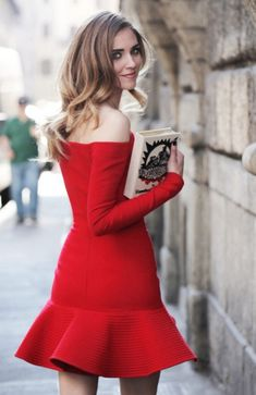 Red Long Sleeve Boat Neck Ruffle Dress - Sheinside.com