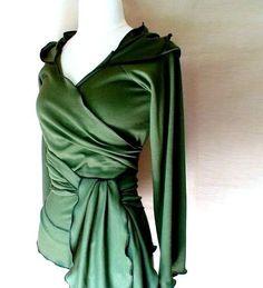 Hoodie wrap shirt - knit hoodie - green sweater - wrap top - custom made organic womens clothing. $95.00, via Etsy.