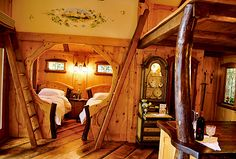 New Treehouses of the World – Heidi's Treehouse Chalet A view from the living room to the bedroom nook. The ladders go to sleeping lofts. cabin, tree houses, house interiors, treehous, kid rooms, dream hous, hobbit houses, nook, bedroom