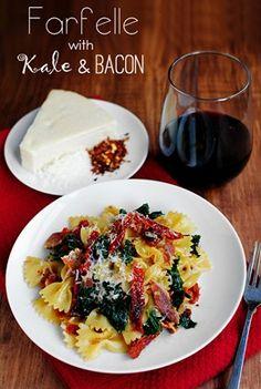 Farfelle with Kale & Bacon | Iowa Girl Eats