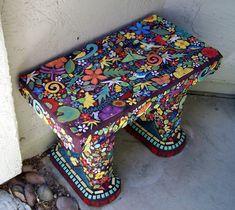 HANDMADE TILE STUDIO: Bench covered with handmade tiles