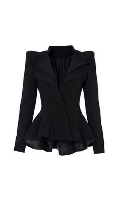 Double Lapel Fit-and-flare Blazer - Black