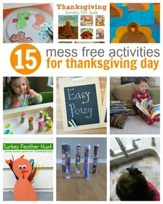 Great list of fun ideas for Thanksgiving day - all MESS FREE #kids #parenting #crafts