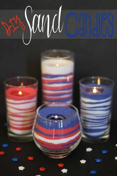 #DIY Sand Candles - I love these! I used drinking glasses and a votive I bought from a thrift store, added the #sand and a tea #candle. 30 minutes later I have 4 great candles for #4th of July. Made all four candles for $8 bucks!  This pin was tested and reviewed by one of the 3 crazy sisters at http://www.madefrompinterest.net/