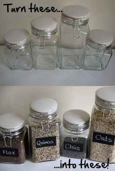 diy chalkboard paint glass kitchen jars. I want to do something like this with my pantry staples.